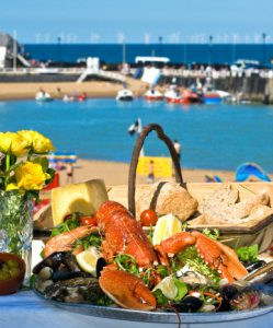 Broadstairs Food Festival still life with lobster overlooking Viking Bay