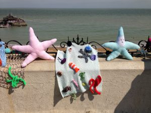 knitted starfish on Broadstairs beach