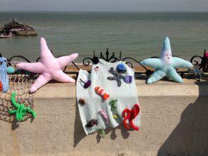 knitted starfish on Broadstairs beach