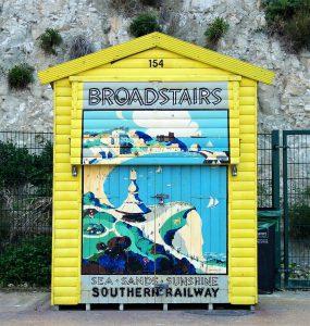 Broadstairs Beach Hut with vintage railway poster design decoration