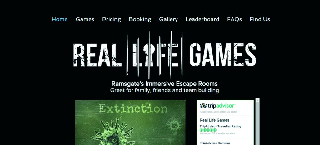 real life games escape rooms in Ramsgate website