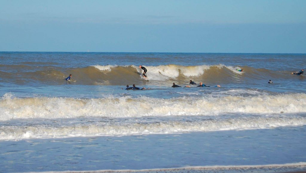 Surfers at Joss Bay
