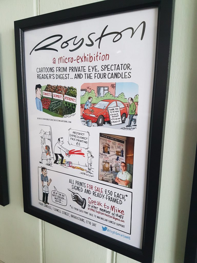Royston Cartoon Exhibition at Four Candles Pub poster